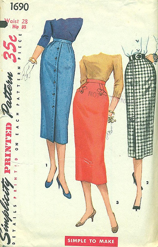 Simplicity pencil skirt pattern. Courtesy of wesewretro.com