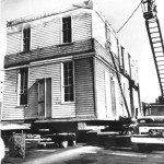 Photo dated March 7, 1963 showing move of Lee House to temporary Front Street Location. WHC 0091.010.0001 Photo appeared in the Capital Journal, Thursday, March 7, 1963.