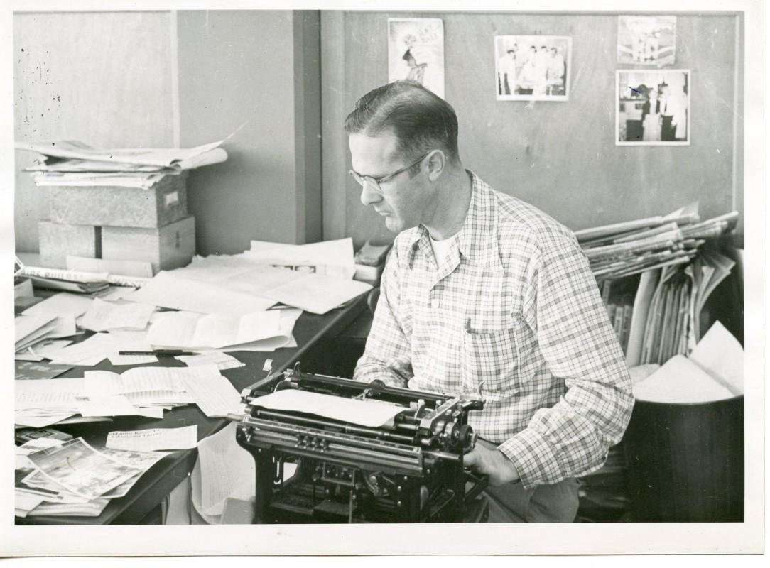 Al Jones as Capital Journal Sports Editor circa 1956
