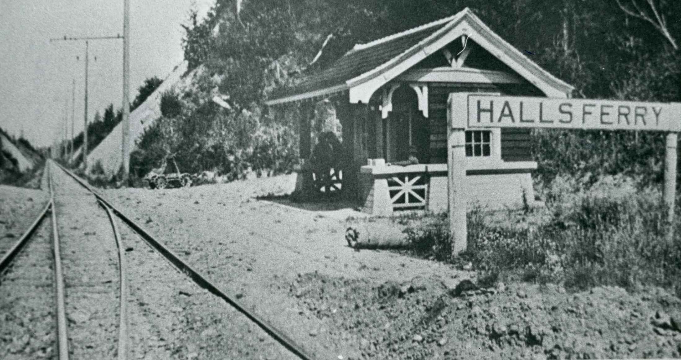 Rail station at Hall's Ferry in 1915. It provided a connection between the Oregon Electric Railway and the ferry.  A small incline vehicle on rails took passengers from track level to river level.   WHC 2007.001.0398