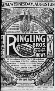 Ringling Bros. Circus newspaper advertisement Aug. 14, 1907. (source Daily Capital Journal)