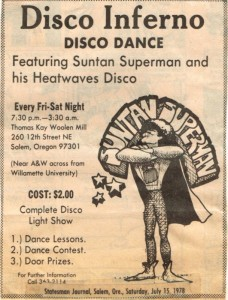 Disco Inferno ad from the Statesman Journal 1978.  Photo Credit: WHC MMMA.200.0002