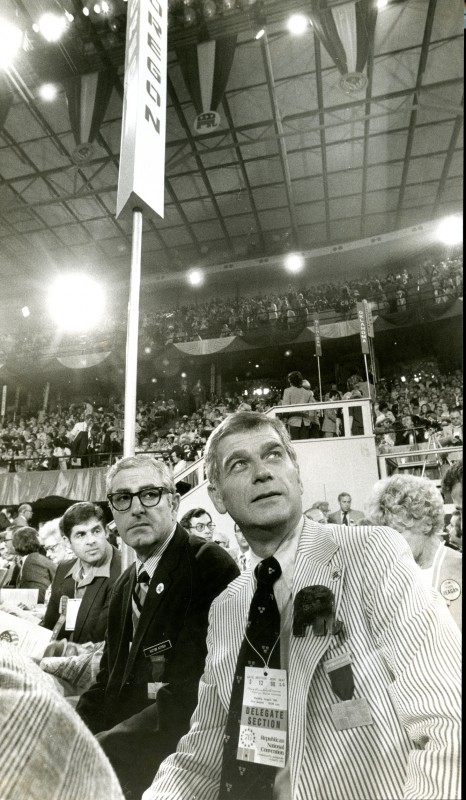 Vic Atiyeh and Mark Hatfield at the 1976 Republican National Convention in the Kemper Arena, Kansas City, MO. Photo by Gerry Lewin. WHC 2016.023.