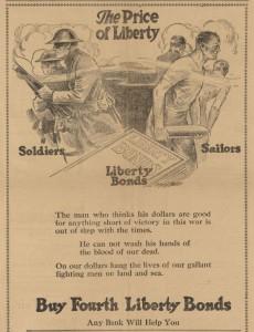 War Bond Advertisement sponsored in part by the Salem Commercial Club. Source: Oregon Historic Newspapers Database. Aurora Observer. 18 Sept. 1918.