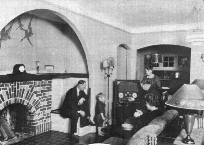 The Barton family gathered around the radio in their home on 901 Capitol St. NE. Their electrical dream home is now the law offices of Gerald L. Warren and Associates.
