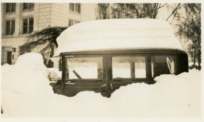 Car completely blocked in by the heavy snows on January 31, 1937 in Salem.  Photo Source:  Willamette Heritage Center, 1989.057.0005.