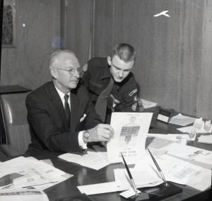Russell F. Bonesteele (left) and unidentified Boy Scout reading the 1959-1960 City of Salem Budget. Al Jones Collection, WHC 2006.064.0601.006.