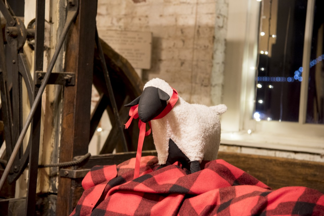 Stuffed animal sheep hidden in the Thomas Kay Woolen Mill at the Willamette Heritage Center