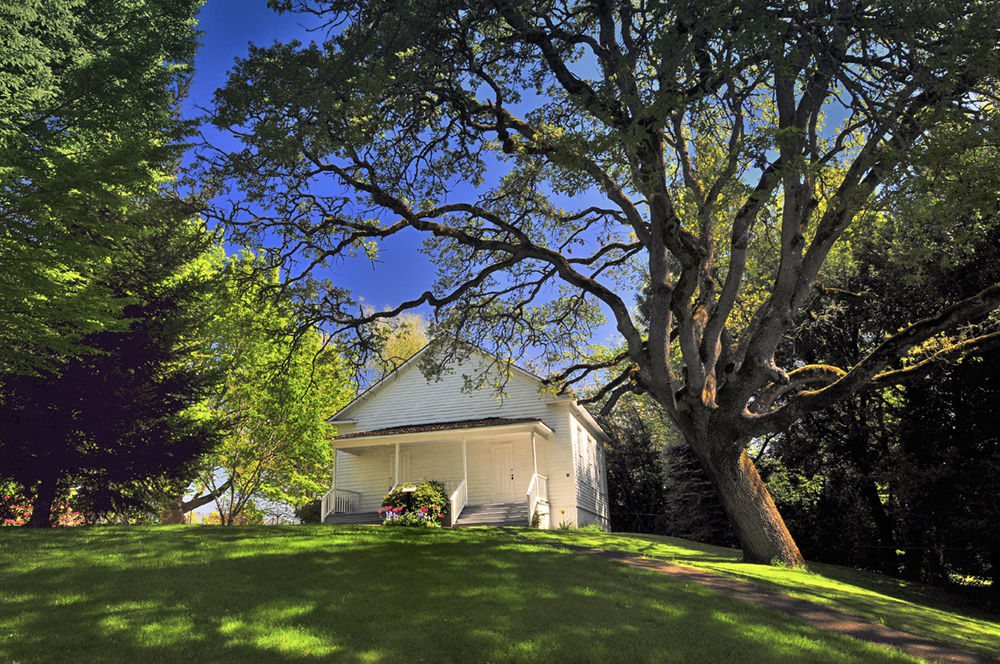 Pleasant Grove Church in spring at the Willamette Heritage Center
