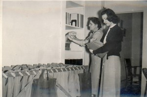 Dr. Constance Weinman and Mrs. Norma Brown working in Salem School District Offices circa 1955. WHC 1996.017.0001